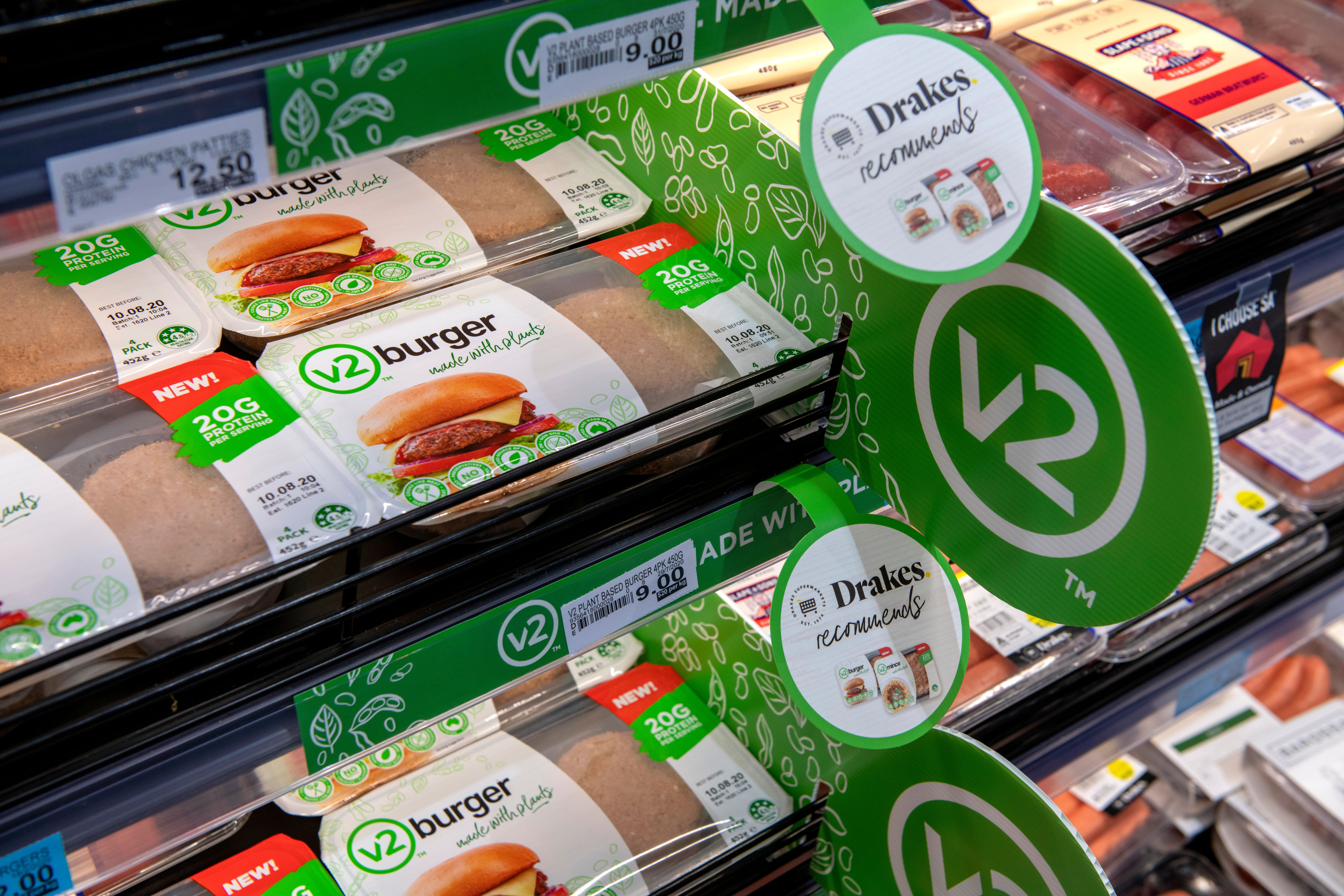 Tasty plant based v2burger and v2mince are available in the meat aisle at a comparable price to beef